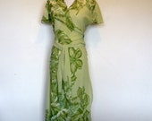 Green Floral Wrap Dress- Made from Vintage Sari