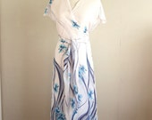 White Wrap Dress with Blue Flowers- Made from Vintage sari