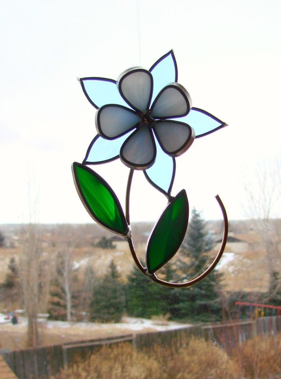 Blue and White Columbine - Stained Glass