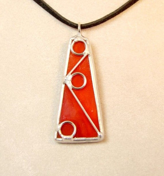 Geometric Design - Red Stained Glass Pendant, it comes with your choice of chain
