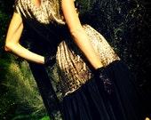 Vintage Flamenco Style Gold Animal Print Dress, Small to Medium