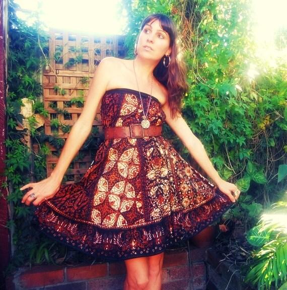 Vintage Hippie Cotton Wrap Skirt Dress