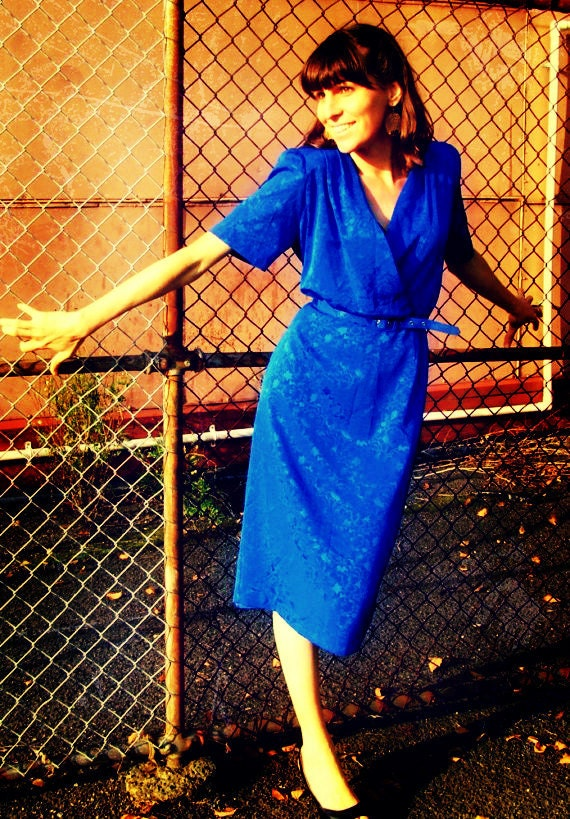Vintage Blue Lady K Dress, Medium to Large