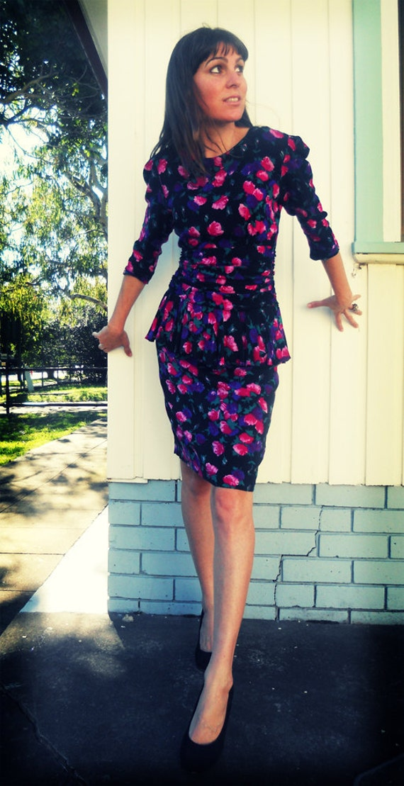 Vintage Floral Peplum Dress, Small to Medium