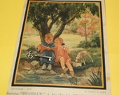 1935 Dog Magazine Cover Art Children Read Puppy Eats Picnic Vintage 30s Woman World Wall Hanging Print Pet Paper Ephemera Terrier Dog Poster