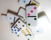 Mini Dominoes Game Pieces for Pendants, Charms or Altered Art Projects 30 small Plastic Tiles in Vintage Toy Style blanks back