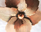 Vintage Copper Flower Brooch or Floral Dress Pin Mid Century Modern Nature Motif 40s or 50s Art Nouveau Style