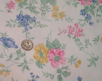 Cotton Knit Floral Fabric Yardage 1 Yd x 60 Inch Extra Wide, Pink Blue Pastel Flowers Vintage Cloth, Childs Baby Blanket Fabric Quilted Knit