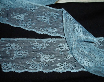 Wide Flat Lace 8-20 yd French Blue 3 inch Scallop Edge Trim Soft Lace Wedding Trim Altered Couture Cuff Lingerie Costume Sewing BTY yardage