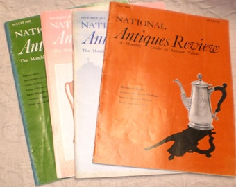 Magazines 4 National Antiques Review Vintage Lot Issues 60s 1960s 1970s Ads Folk Art Primitives, Cut Glass, Pottery Collectibles History