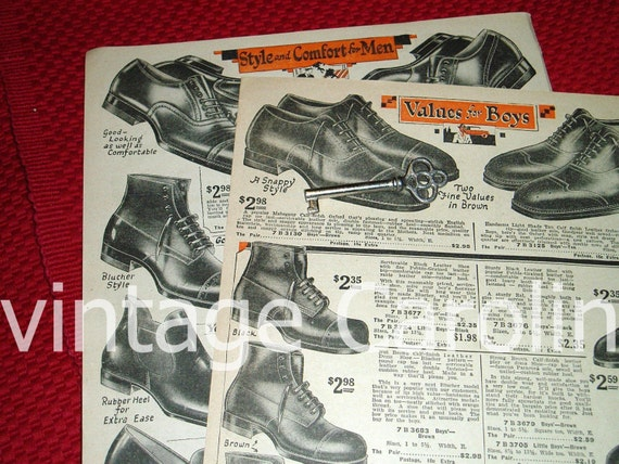 Vintage Shoe Ads Fashion Ad Oxfords From 1920s NY Catalog to Frame, Decoupage Collage Pack Mens High Top Shoes Advertisement 2 pg Ad