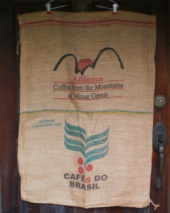 2 Coffee Bean Bags Brazil Burlap Coffee Sacks 3 Large Graphics Red Green Black Natural Burlap Jute Sisal Fiber ECO Upcycle Upholstery Fabric