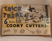 Vintage Cookie Cutters - Halloween - Bat cat owl broom and witch set 1950s