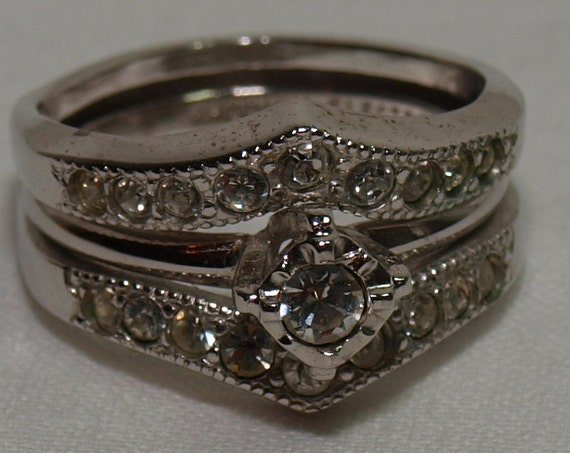Vintage Costume Jewelry - Rhodium Electroplate Silvertone engagement ring and enhancer set