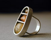 Reserved for Ellie - Oregon Beach Agates and Sterling Silver Ring