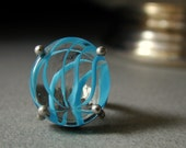 LAST CHANCE SALE, 25. Off  - Sterling and Blue Swirled Glass Ring