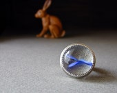 LAST CHANCE SALE, 25. Off - Fabricated Sterling and Glass Ring with Blue Ribbon, Marble -Reserved for Lisa