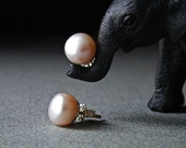 Sweet 9mm Pink Pearl Studs with 14kt Gold Posts
