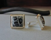 Graphic Black and White Fossil Coral Cufflinks in Sterling Silver with 14kt Gold