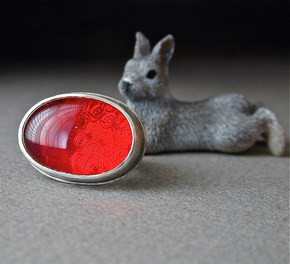 LAST CHANCE SALE, 25. Off - Oblong Red Glass and Sterling Silver Ring