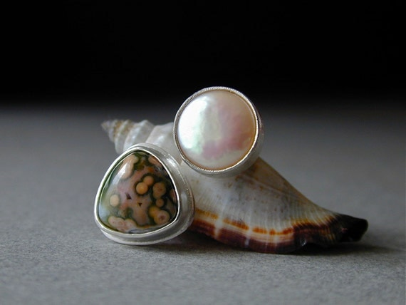 Sweet Ocean Jasper and Pink Coin Pearl Ring in Sterling Silver