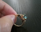 Reserved second payment, Art Nouveau, Arts and Crafts, Blue Zircon, 14k yellow gold ring