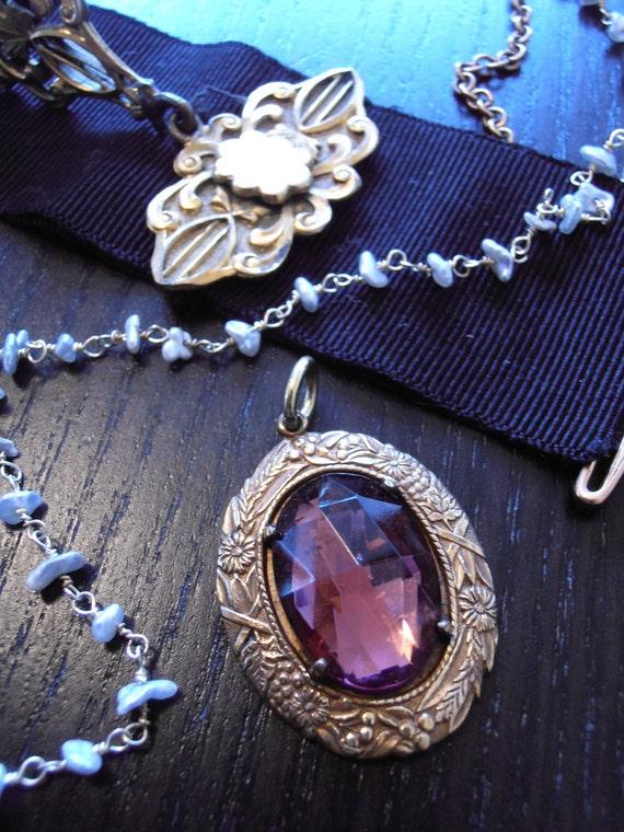 Vintage Art Nouveau Pendant with Purple Crystal