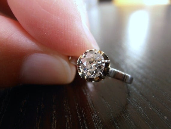 Memorial Day Sale, Vintage Old Mine Cut Diamond 14k white gold Engagement Ring