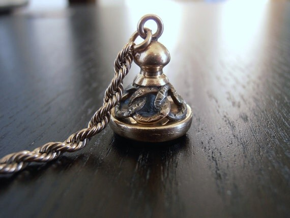 Vintage Victorian Pocket Watch Onyx Intaglio Snake Fob and Chain