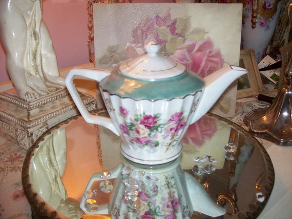 Vintage Teapot with Shabby Pink Roses  Charming Cottage Cutie