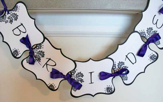 Wedding Banner-Bridal Shower Banner-Build your own Wording-Damask Banner-You Customize- Ten Letters ONLY-Custom order for Jenelle