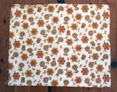 Vintage 1970s paisley style floral print fabric thick cotton 109cm x 55cm Orange green cream