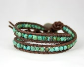 Amazon Forest. Turquoise Leather Wrap Bracelet. Double Wrap. Color of the year 2010.