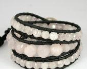 Reserved for Erin. Rose Quartz Black Leather Chunky Wrap Bracelet