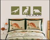 DINOSAUR Square Vinyl Decal Design - personalized with name