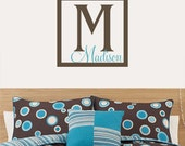 FUN MONOGRAM With NAME - vinyl decal - wall graphic