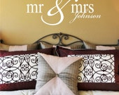 MR & MRS family name decal - wedding - anniversary gift