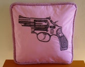 """14"""" by 14"""" Snub Nose Revolver Gun Pillow"""