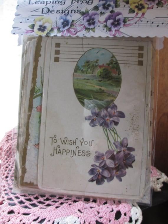 Vintage 1900's Postcards Post Cards 18 Roses Violets Birthday Women