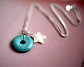 turquoise circle charm and mother of pearl star charm sterling silver necklace