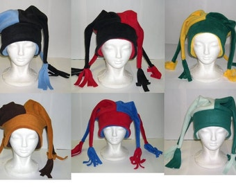 Fleece Jester Hat NEW (Pick your own solid colors)