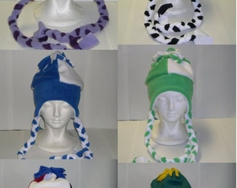 Fleece Ski Hat with ties (Pick your own solid colors)