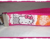 Hello Kitty KEY FOB Wristlet Keychain Retro Kitty Pink
