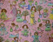 Briar Rose Princess Fabric by Avlyn Fairy Tale Frogs Pink  BTY
