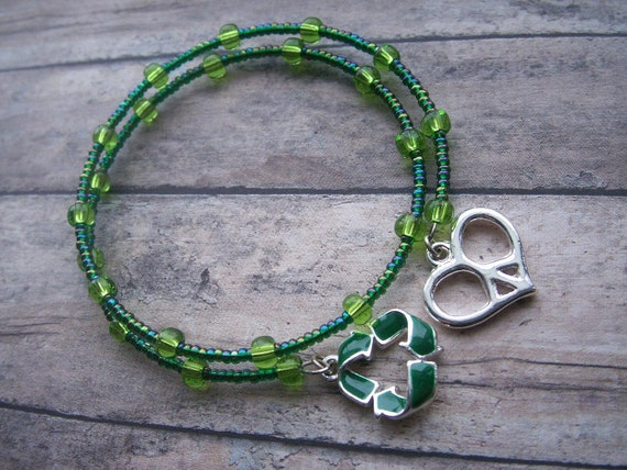 SALE 50% OFF love, peace and recycling wrap bracelet