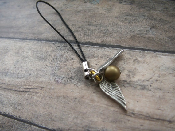 small golden snitch cell phone charm