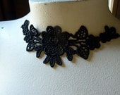 3 Black Lace Flower Appliques for Lace Jewelry, Necklaces, Costumes, Altered Couture  SBLA 404