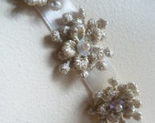 Beaded Appliques 11 Tiny Flowers in Gold Venice Lace for Bridal Design, Headbands, Shoe ClipsTR 2