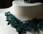 Hunter Green Lace Applique  for Lyrical Dance, Garments, Jewelry, Costume Design CA 103