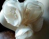 Silk Flower Triple Blossom in Shaded Nude for Sashes, Corsages, MF122